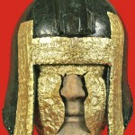 Gold-trimmed warrior helmet and gold mask