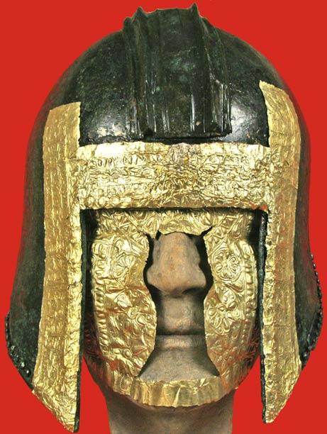 Gold-trimmed warrior helmet and gold mask