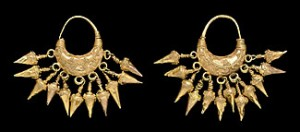 Neo-Assyrian gold earrings