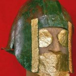 Bronze helmet and gold foil as it was buried