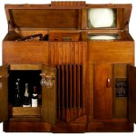 Baird mirror-lid television, wireless, record-player and bar, 1937