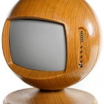 Keracolor 26&quot; sphere colour television, rare teak effect finish, 1970