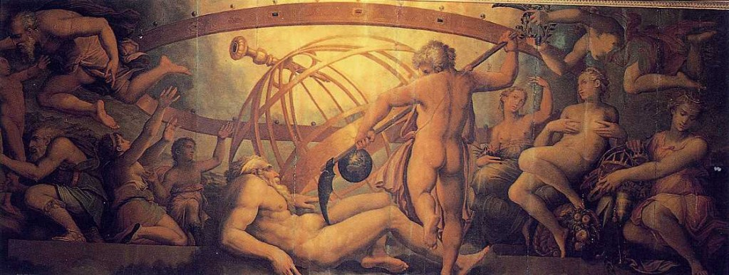 The Castration of Uranus by Saturn, fresco by Vasari