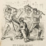 Avoid the draft by beating a black man, Draft Riot cartoon, 1863
