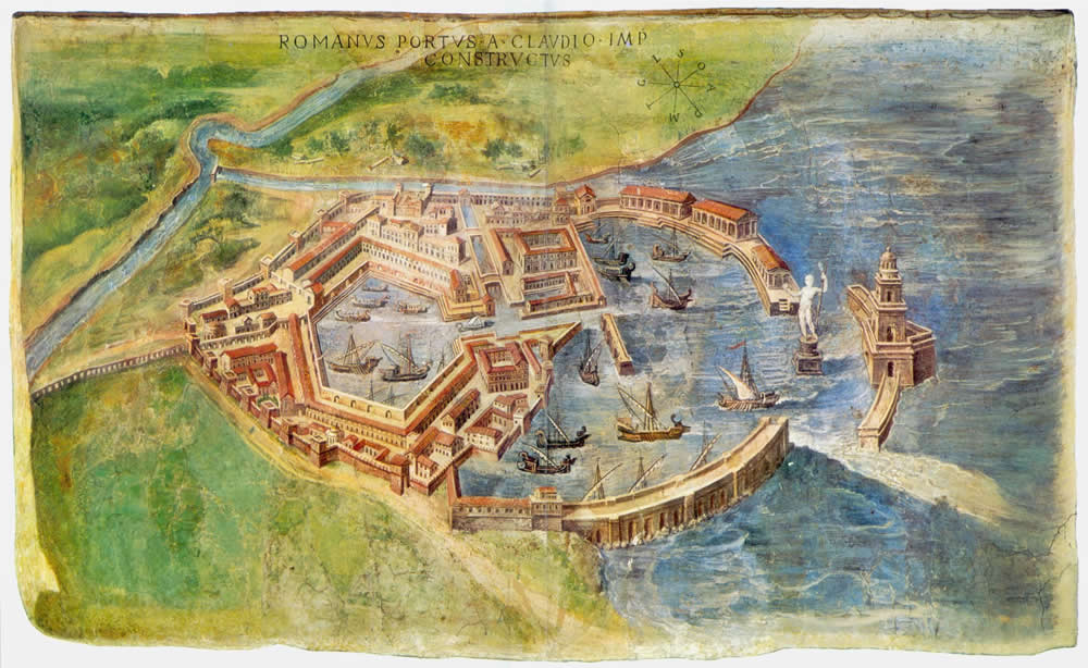 Portus as it was, modern painting from 1582 fresco
