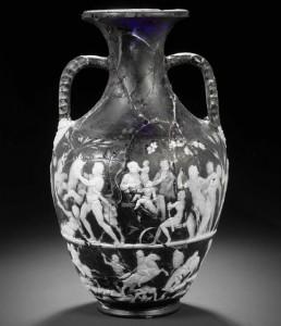Complete Roman cameo glass vase