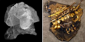 Woman&#039;s skull, CT on left, decorated for burial on right