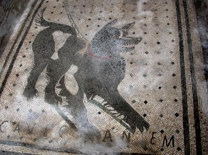 """Cave Canem"" mosaic in entrance of the House of the Tragic Poet, Pompeii"