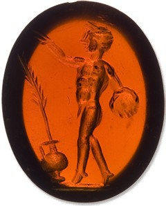 Carnelian gemstone engraved with discus thrower, late 1st c. A.D.