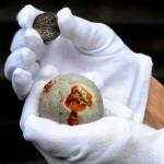 Silver coin and cannon ball found on the Bosworth site