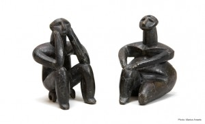 &quot;The Thinker&quot; and female figurine, fired clay, 5000-4600 B.C.