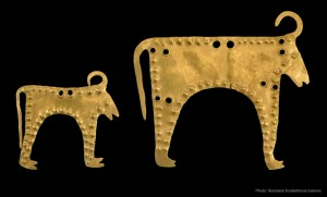 Zoomorphic appliqué bulls, 4400-4200 B.C.