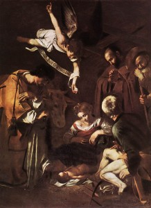 Nativity with Saints Francis and Lawrence, Caravaggio, 1609