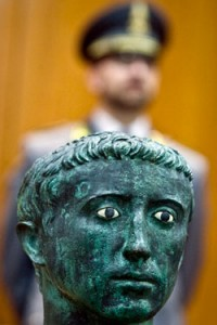 Bronze bust of emperor Augustus