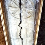 Cross slab cracked by the heat