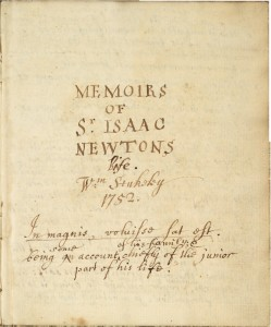 Memoirs of Sir Isaac Newston's Life by William Stukeley, 1752