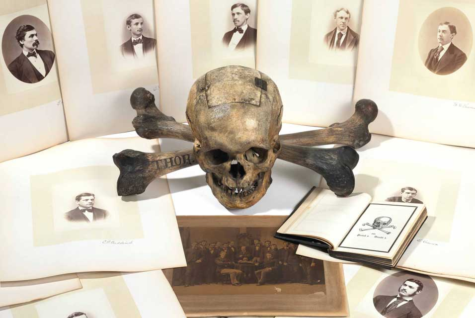 Skull and Bones ballot box, black book, and member photographs