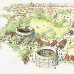 The Globe in the foreground, The Rose in the midground, the Bear Garden in the background, reconstruction of 1602 Southwark