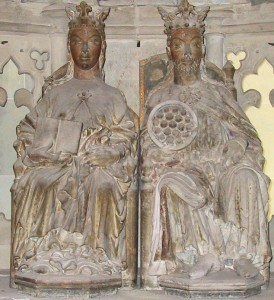 Statue of Queen Eadgyth (L) and Otto I, Holy Roman Emperor (R)