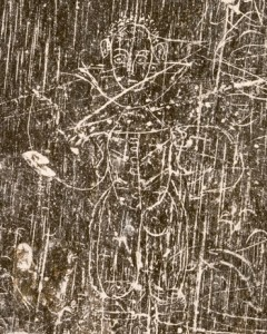 Man etched onto Jamestown slate tablet, 17th. c.