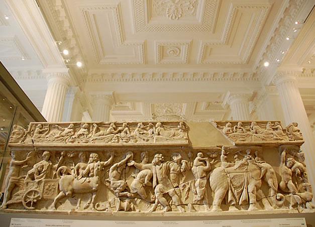 Roman era sarcophagus from Crete depicting the return of Dionysus from the East