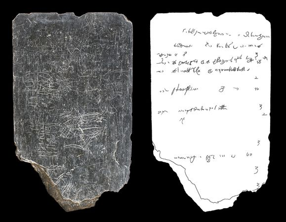 Slate tablet (left), digitally isolated inscriptions (right)