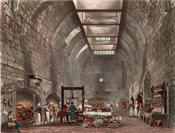 Ancient Kitchen - Windsor Castle, engraving by W.J. Bennett, 1819
