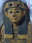 Elaborately painted wooden sarcophagus, Egypt, 21st Dynasty
