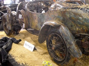 Drowned Bugatti on the sale floor at Rétromobile
