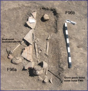 Burial site with East Asian skeleton (F96A) and grave goods