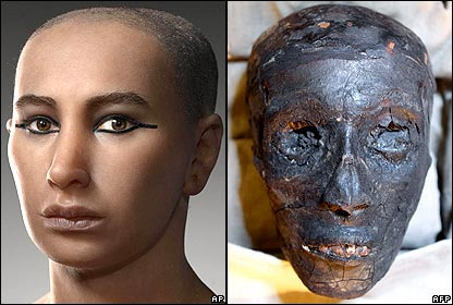 King Tut's face, reconstructed and as is