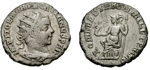 Antoninianus Pacatianus coin, obverse inscribed 'ROMAE AETER AN MIL ET PRIMO', 'Eternal Rome Year One Thousand and One'