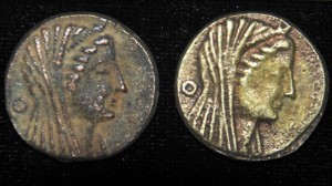 Obverse of Amun-Zeus on 3rd century bronze coins