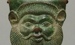 Etruscan bronze mask of river god Acheloos from Symes collection