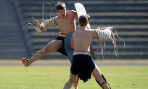 University of Regensburg students train as gladiators