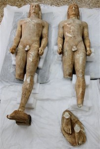 Kouros statues recovered from looters, 6th c. B.C.