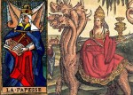 Pope Joan as the Whore of Babylon, from an anti-Catholic tarot set