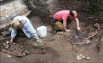 Archaeologists examine skeletons in York burial ground