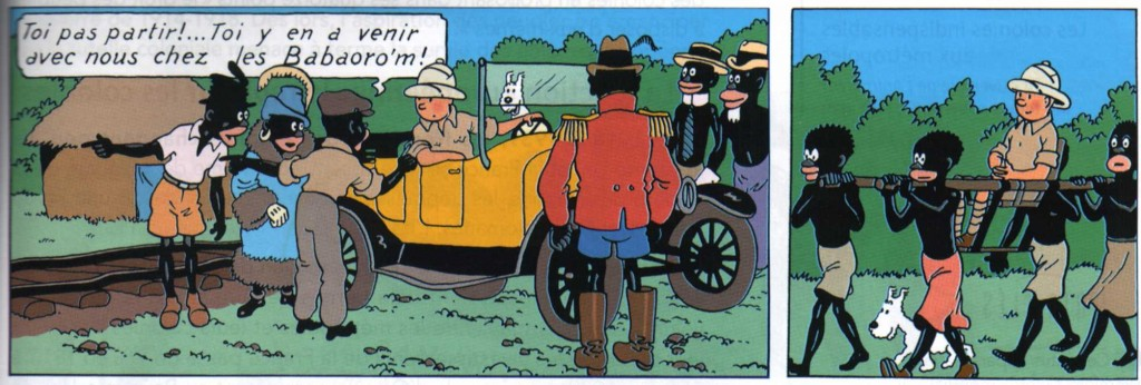 "The natives take Tintin to see their leader in ""Tintin in the Congo"""
