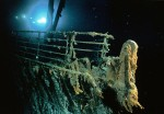 Bow railing of Titanic, picture taken by submersible