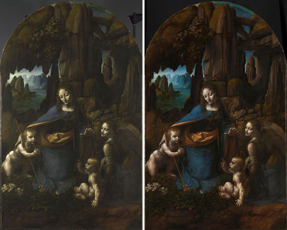 'Virgin of the Rocks' before restoration (left) and after (right)
