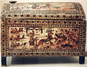 Painted chest found in Tut's tomb covered in chariot scenes