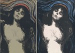 Edvard Munch, 'Madonna', 1895-1896, lithograph in black with hand coloring on green card