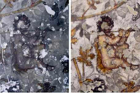 Hellenistic painting, before and after restoration