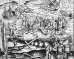 16th c. woodcut of whale being butchered on Thames shore