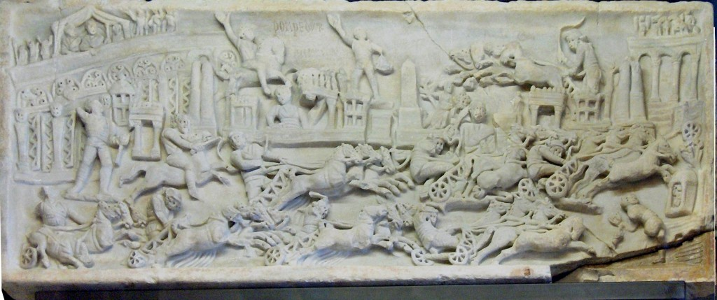 Half-relief with a quadriga race in the Circus Maximus, Rome (2-3rd century); Trinci Palace, Foligno, Italy