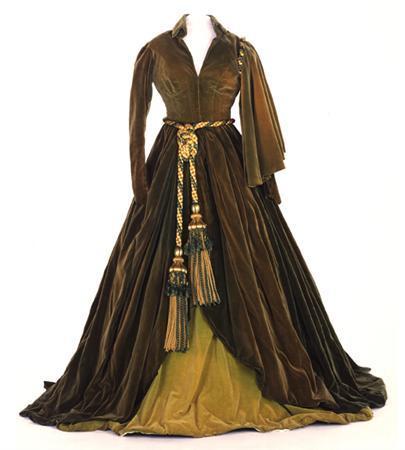 Green curtain dress