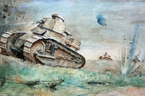 Watercolor of Renault FT17 tank in battle