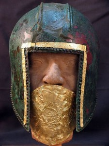 Bronze helmet with gold mouth protector, 6th c. B.C.