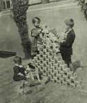 German kids playing with worthless cash